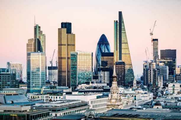 skyscrapers in city of london - international landmark stock photos and pictures