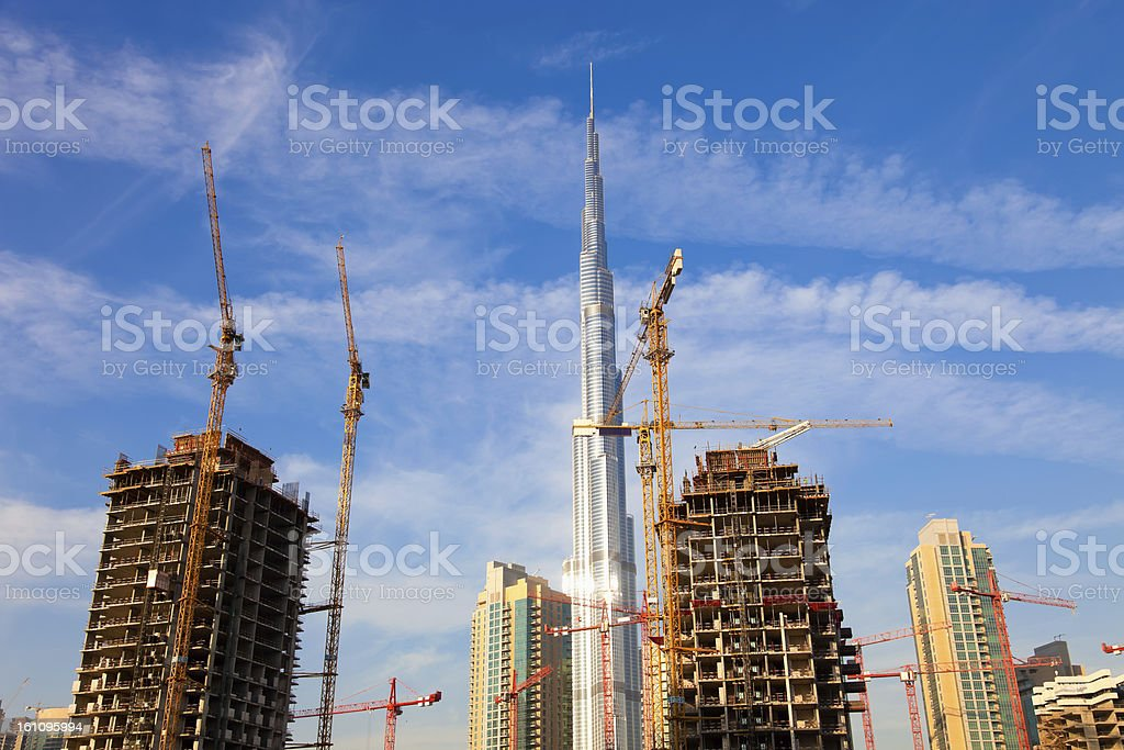 Skyscrapers in construction, Dubai royalty-free stock photo