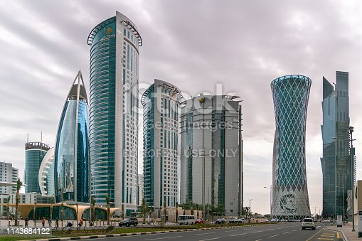 Doha, Qatar - February 2019: Skyscrapers in Financial District skyline in West Bay, Doha, Qatar