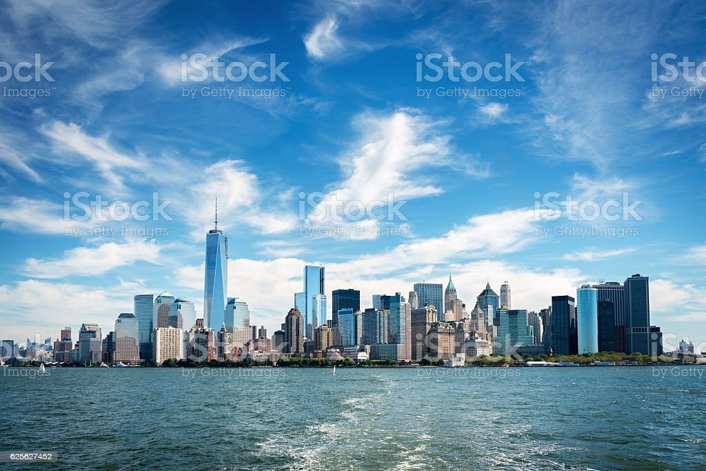 Skyscrapers in Lower Manhattan, New York City stock photo