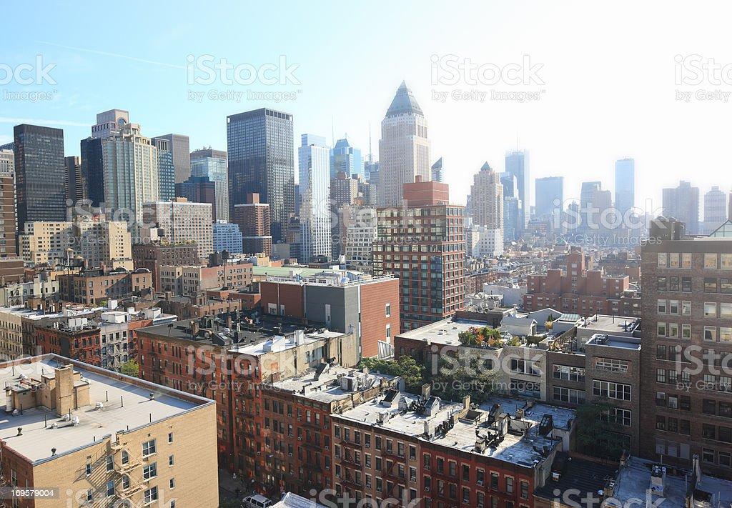 Wolkenkratzer-in Manhattan, New York, am frühen Morgen – Foto
