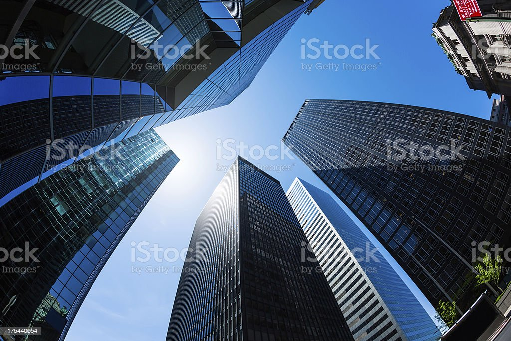 Skyscrapers in New York City financial district, Lower Manhattan stock photo