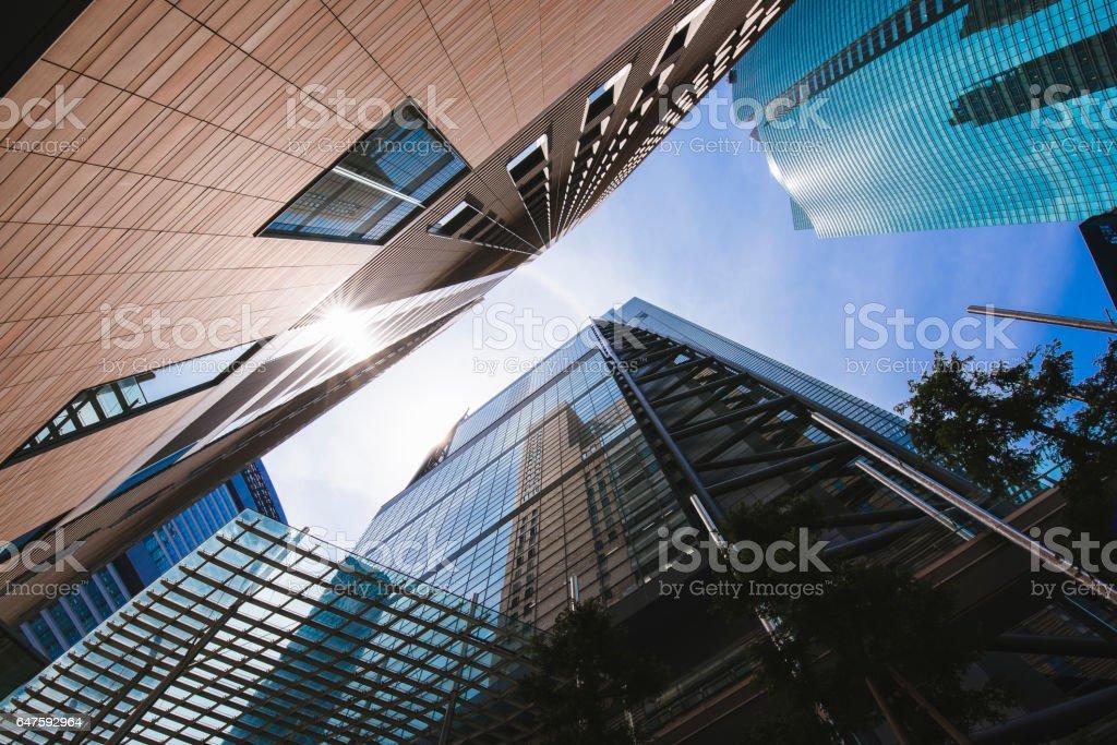 Skyscrapers in Shiodome, Tokyo stock photo