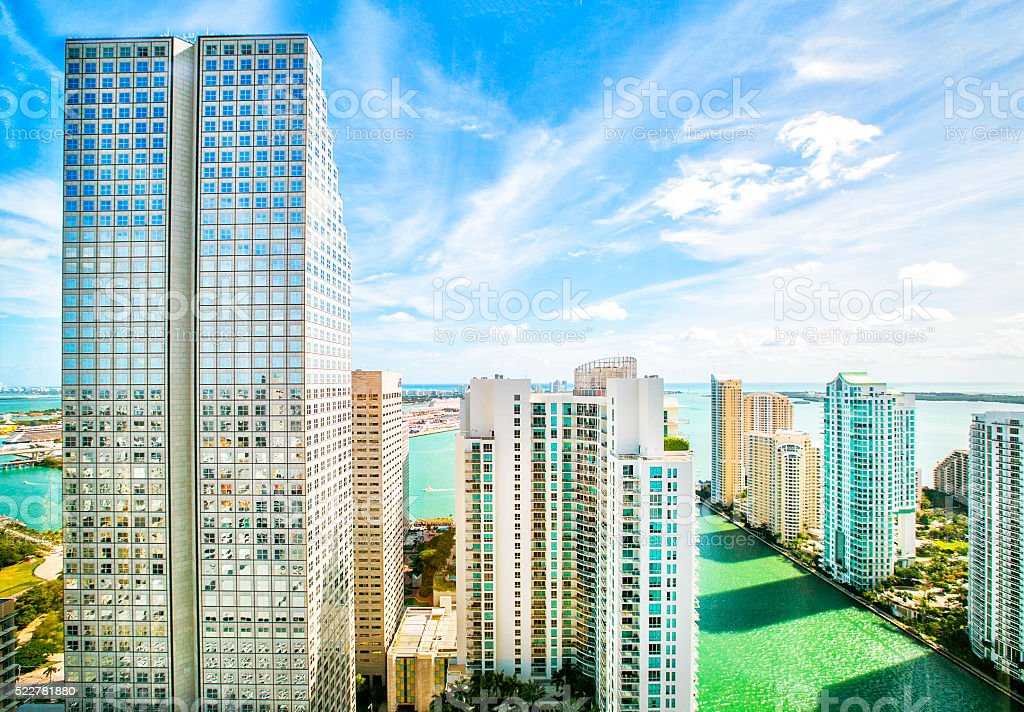 Skyscrapers in the Brickell Key area in downtown Miami. stock photo