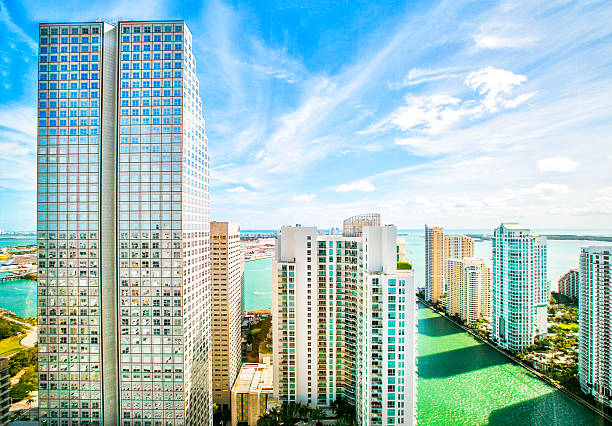 Skyscrapers in the Brickell Key area in downtown Miami. stock photo