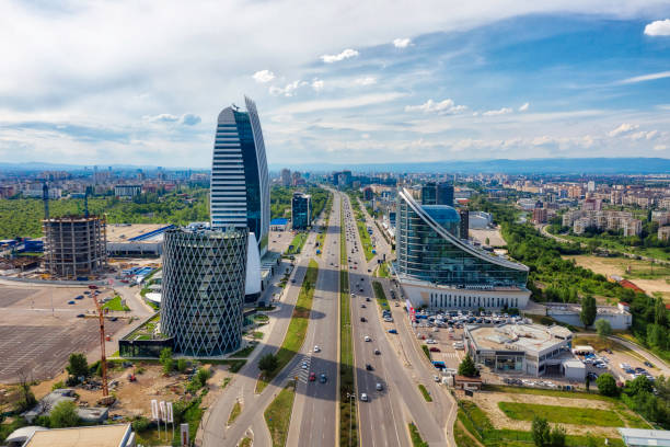 Skyscrapers in the business district of Sofia, Bulgaria, taken in May 2019 stock photo