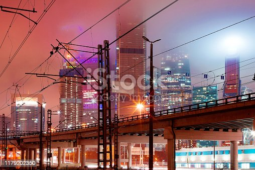 Photo taken on a city street, Moscow, winter 2018, sky, rails, houses