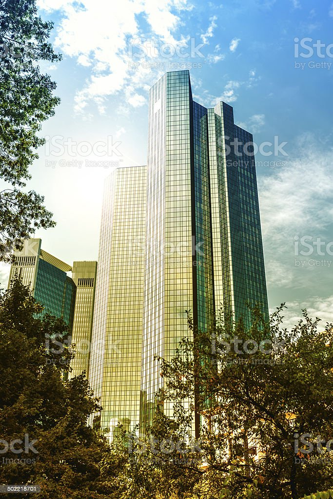Skyscrapers in the financial district of Frankfurt royalty-free stock photo