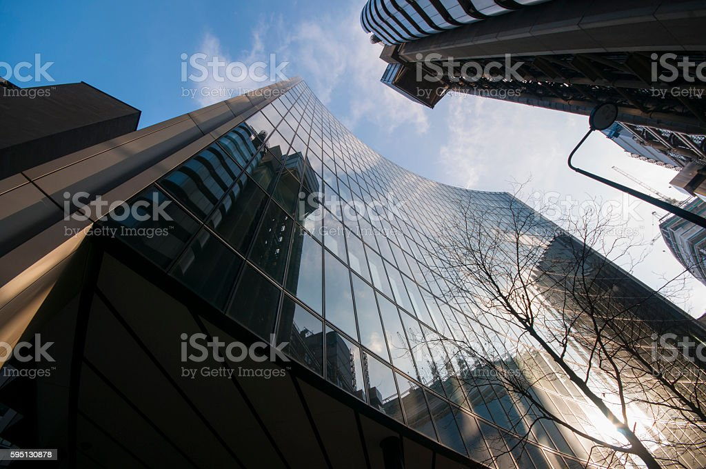 Skyscrapers in the financial district of London stock photo