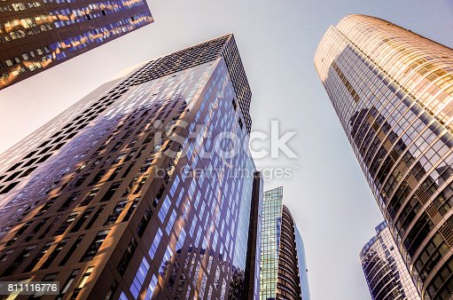 istock Skyscrapers in the financial district. Skyscrapers at blue sky background, 811116776