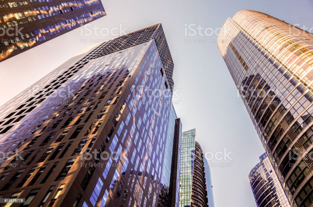 Skyscrapers in the financial district. Skyscrapers at blue sky background, stock photo