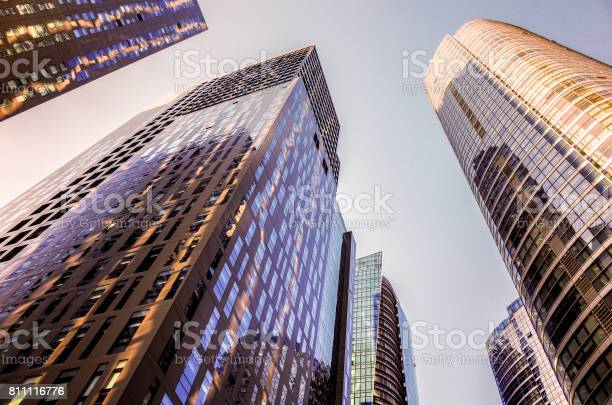 Skyscrapers In The Financial District Skyscrapers At Blue Sky Background Stock Photo - Download Image Now