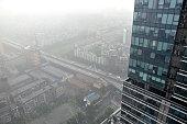Skyscrapers in the stormy rain