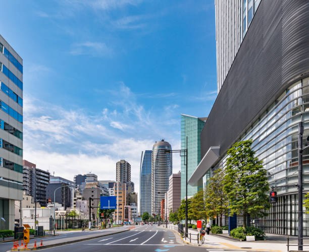 Skyscrapers in Tokyo with beautiful fresh green stock photo