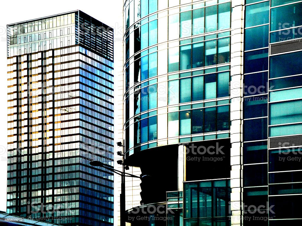 Skyscrapers in Warsaw stock photo