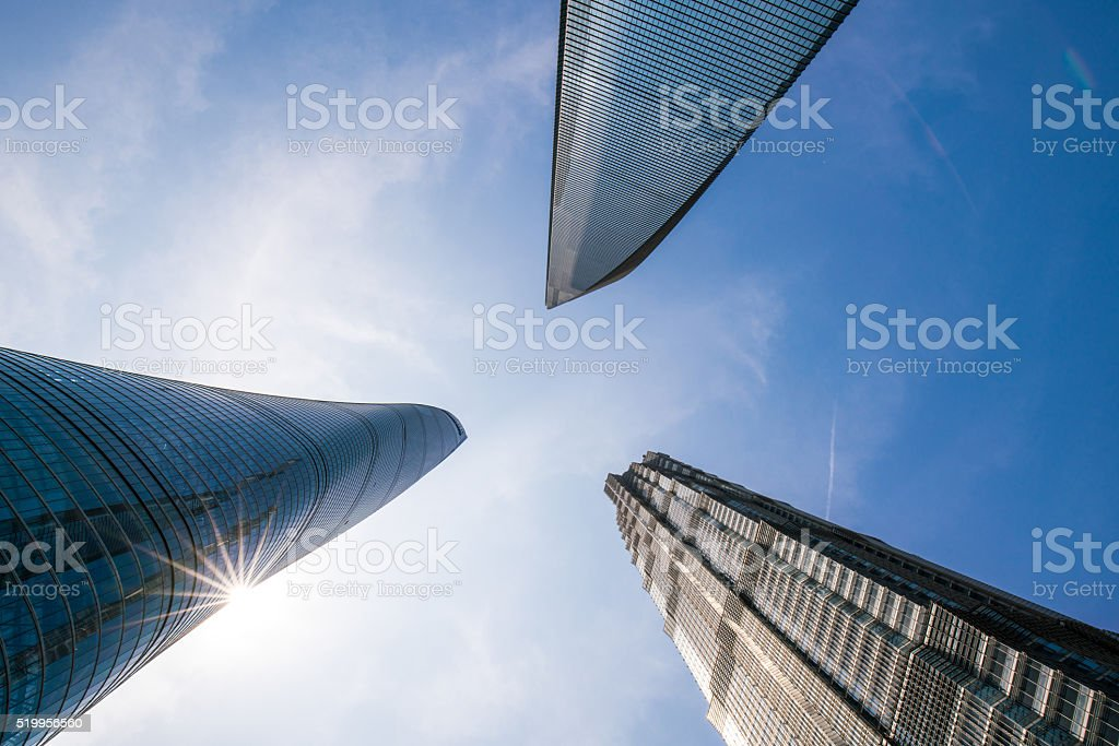 Skyscrapers inShanghai,roof in the Clouds stock photo