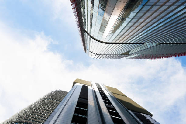 skyscrapers, low angle view of office buildings, background, copy space - barangaroo stock photos and pictures