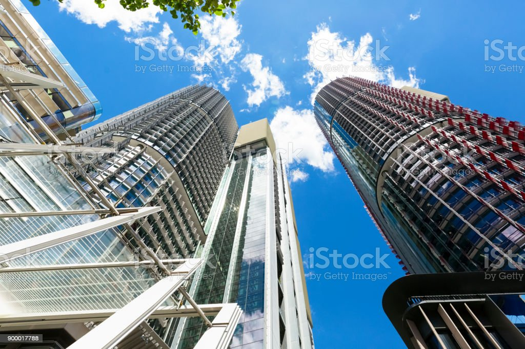 Skyscrapers, low angle view of office buildings, Barangaroo Sydney...