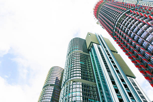 skyscrapers, low angle view with copy space, barangaroo sydney australia - barangaroo stock photos and pictures