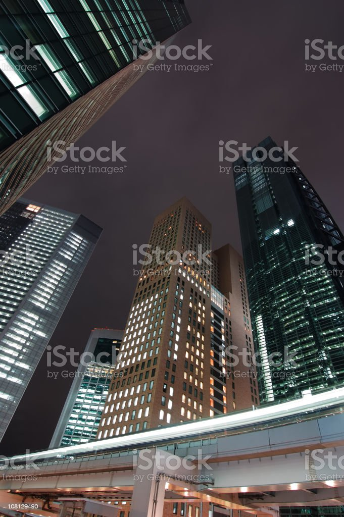 Skyscrapers & Monorail at night royalty-free stock photo