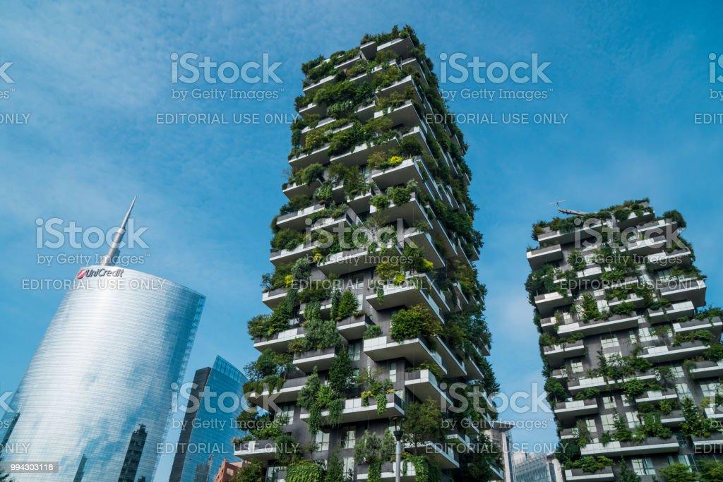 Skyscrapers named Bosco Verticale in Milan, Italy - foto stock
