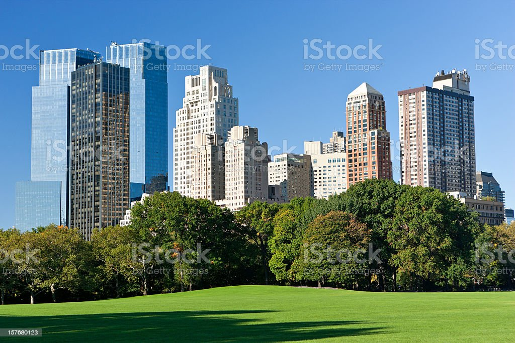 skyscrapers near central park on sunny day royalty-free stock photo