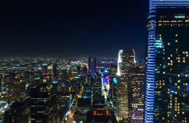 DTLA Skyscrapers - Night stock photo