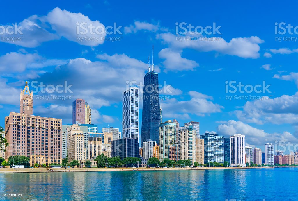 Skyscrapers of Chicago Illinois skyline,Lake Michigan (P) stock photo
