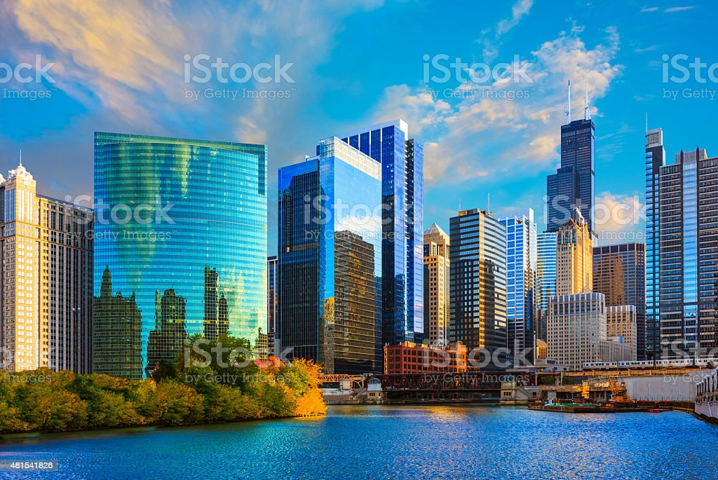Skyscrapers of Chicago skyline at sunset,Chicago River,Ill stock photo