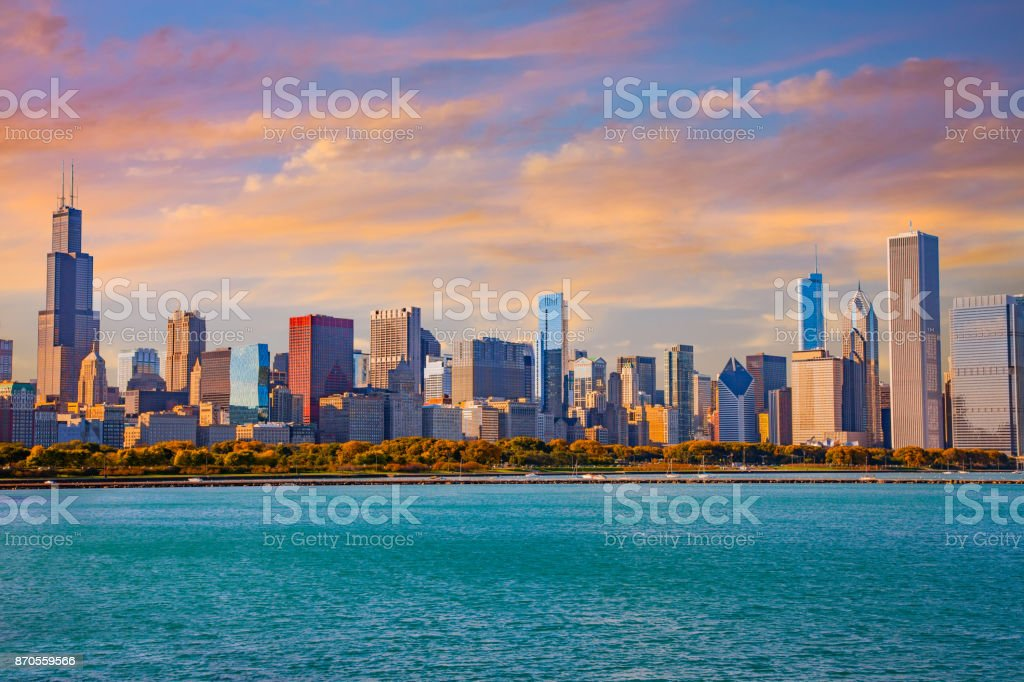 Skyscrapers of downtown Chicago panoramic skyline, Ill stock photo