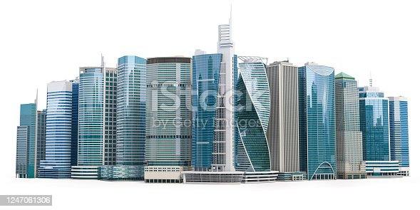 istock Skyscrapers of downtown. City skyline isolated on white background. Real estate, financie and commerce concept. 1247061306