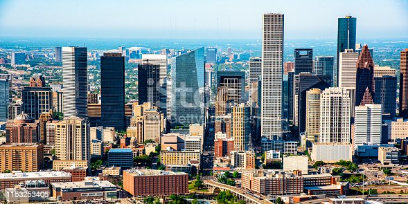 Aerial view of the beautiful downtown district of Houston, Texas, USA.