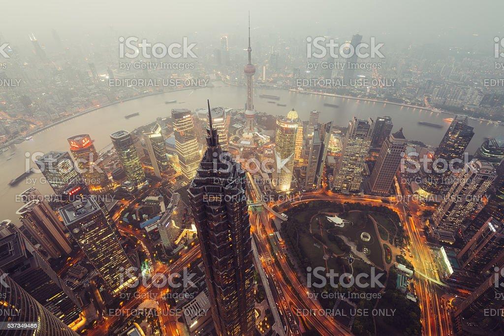 Skyscrapers of Lujiazui in Shanghai, China. stock photo