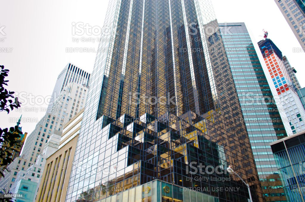 NEW YORK, USA - MARCH 23: Skyscrapers of Manhattan. Manhattan this one of places with the greatest concentration of the capital in the USA on March 23, 2014 in New York, USA stock photo