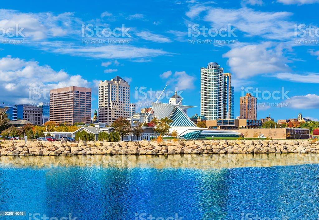 Skyscrapers of Milwaukee skyline and Lake Michigan, WI stock photo