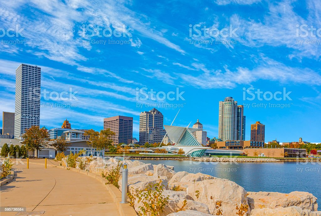 Skyscrapers of Milwaukee skyline with Lake Michigan,Wisconsin(P) stock photo