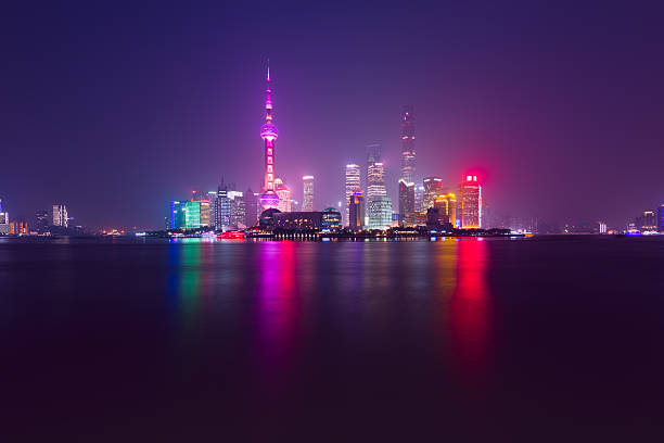 skyscrapers of pudong, shanghai, china. - low contrast stock pictures, royalty-free photos & images