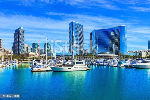 Skyscrapers of San Diego Skyline waterfront and harbor, CA