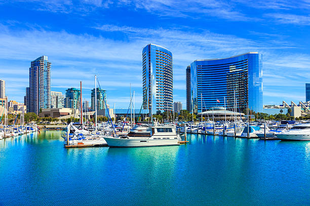 Skyscrapers of San Diego Skyline waterfront and harbor, CA stock photo