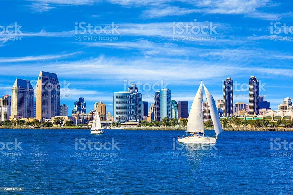 Skyscrapers of San Diego Skyline, waterfront, and harbor, CA(P) stock photo