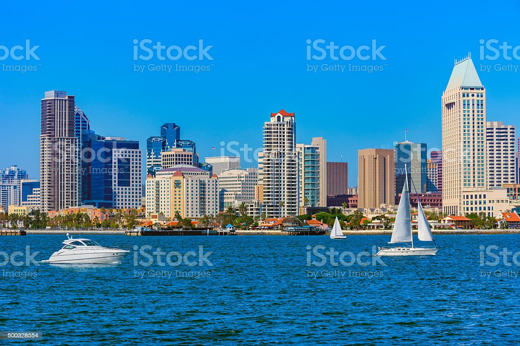 Skyscrapers of San Diego Skyline with sailboat, California (P) stock photo
