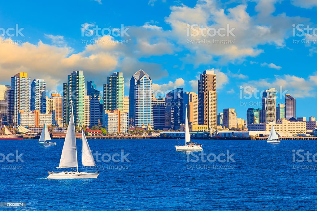 Skyscrapers of San Diego Skyline,harbor,sailboat, CA(P) stock photo