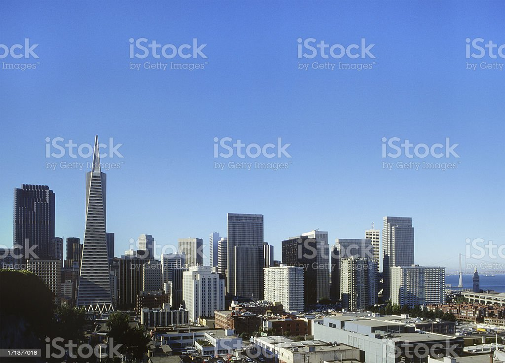Skyscrapers of San Francisco, blue sky on background stock photo