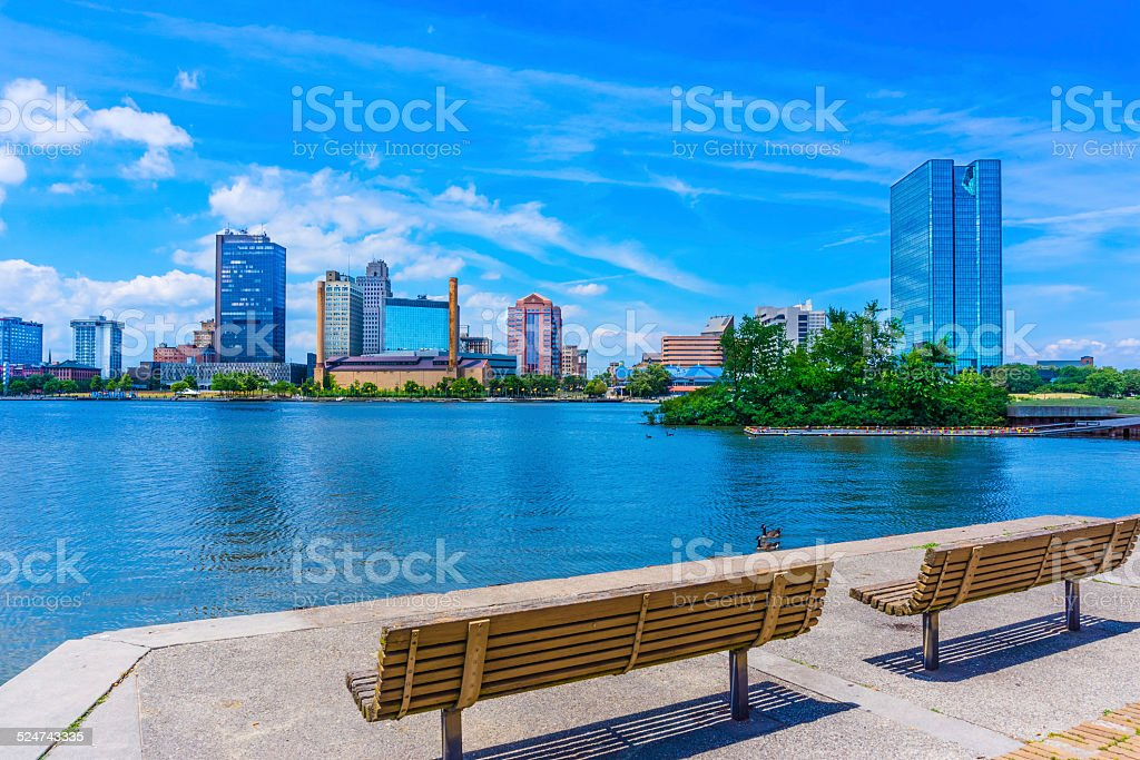 Skyscrapers of Toledo Skyline and waterfront, OH(P) stock photo