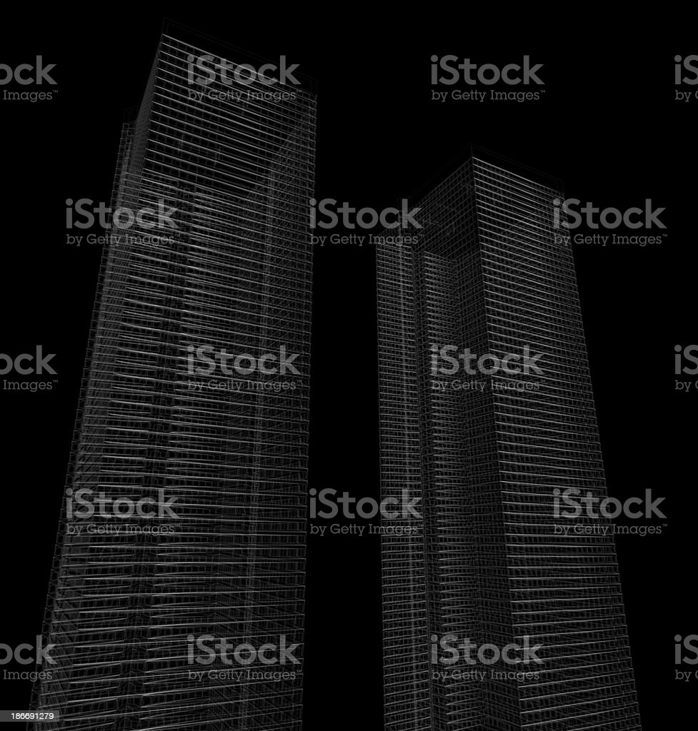Skyscrapers on black royalty-free stock photo
