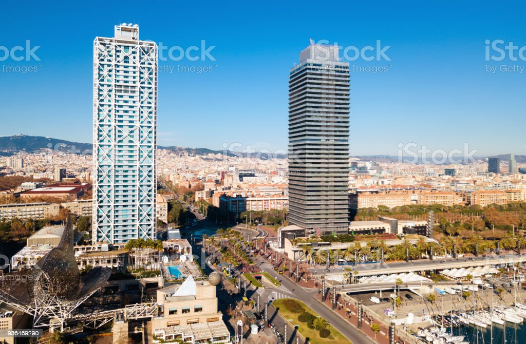 Skyscrapers on seafront of Barcelona stock photo