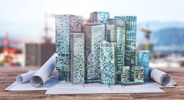 Skyscrapers on the blueprint. Construction concept. 3d illustration stock photo
