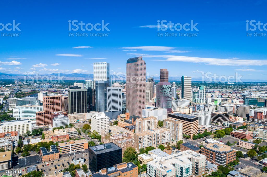 Skyscrapers rise in Rocky Mountain Front Range city of Denver Colorado skyline stock photo