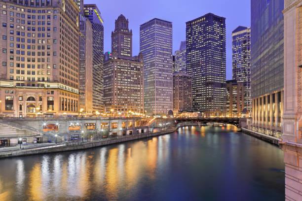 Skyscrapers + River - Chicago stock photo