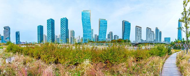 Skyscrapers surrounding Songdo Central park at Incheon, Republic of Korea